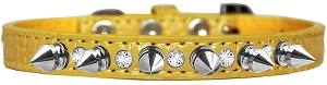 Silver Spike and Clear Jewel Croc Dog Collar Yellow Size 10